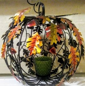 Other - Metal Hanging Candle Holder Fall Foliage Ball